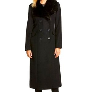 DKNY long wool blend coat with faux fur collar
